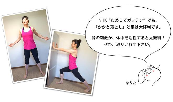 """NHK""""ためしてガッテン""""でも、「かかと落とし」効果は大評判です。骨の刺激が、体中を活性すると太鼓判!ぜひ、取りいれて下さい。"""