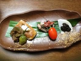 海苔の佃煮、イカの青シソからめ、茄子味噌の画像